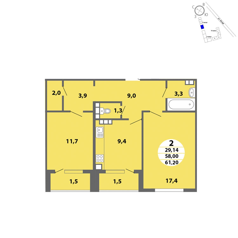 Продаётся 2-комнатная квартира в новостройке 61.2 кв.м. этаж 1/4 за 0 руб