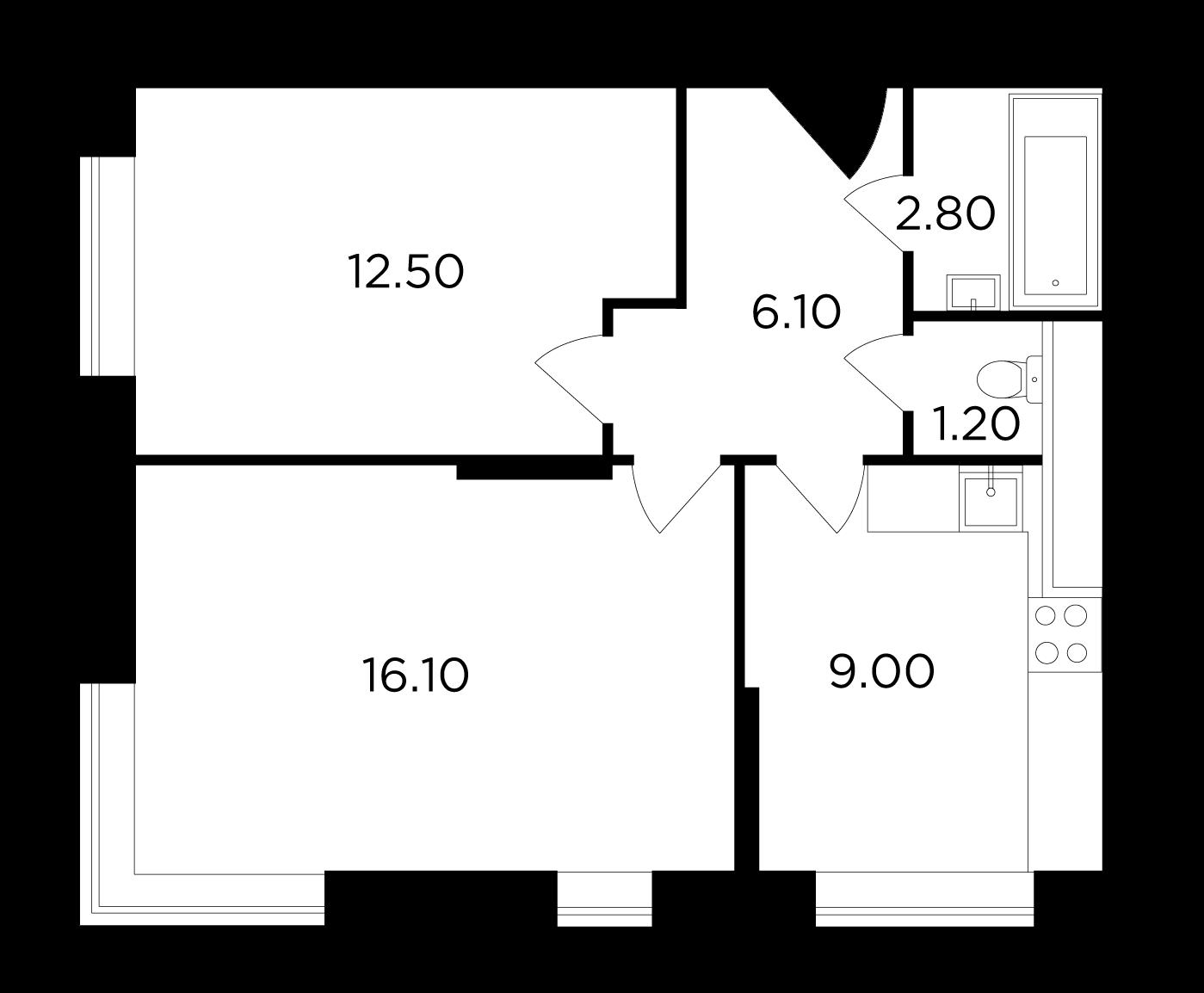 Продаётся 2-комнатная квартира в новостройке 47.7 кв.м. этаж 17/25 за 8 756 578 руб
