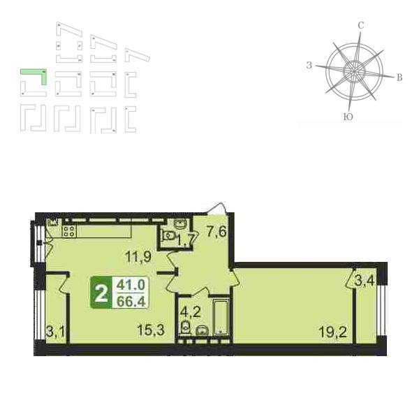 Продаётся 2-комнатная квартира в новостройке 68.6 кв.м. этаж 1/5 за 0 руб