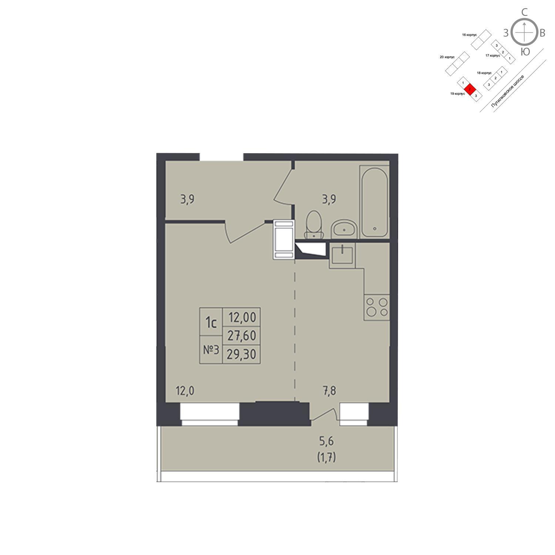 Продаётся 1-комнатная квартира в новостройке 29.3 кв.м. этаж 11/12 за 6 172 484 руб