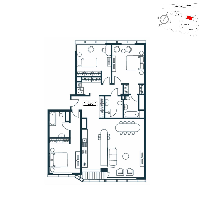 Продаётся 4-комнатная квартира в новостройке 126.7 кв.м. этаж 6/11 за 30 057 288 руб