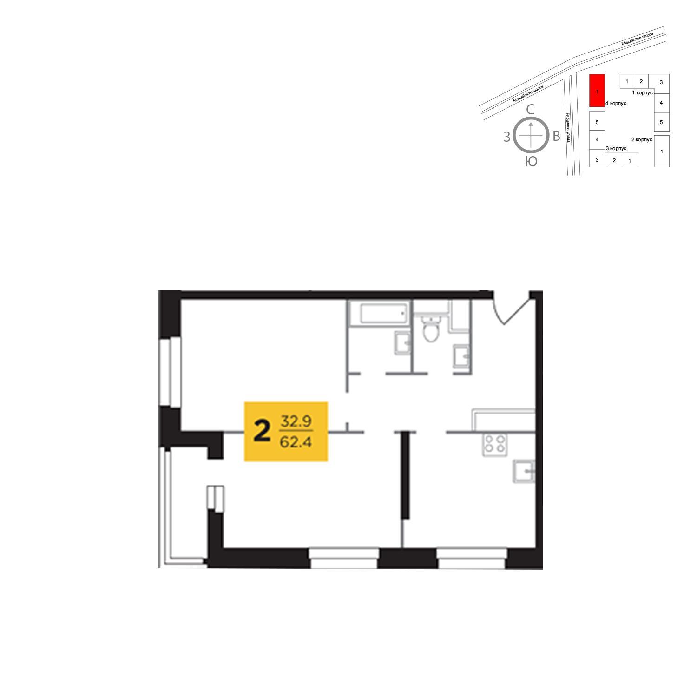 Продаётся 2-комнатная квартира в новостройке 62.4 кв.м. этаж 13/23 за 12 453 958 руб