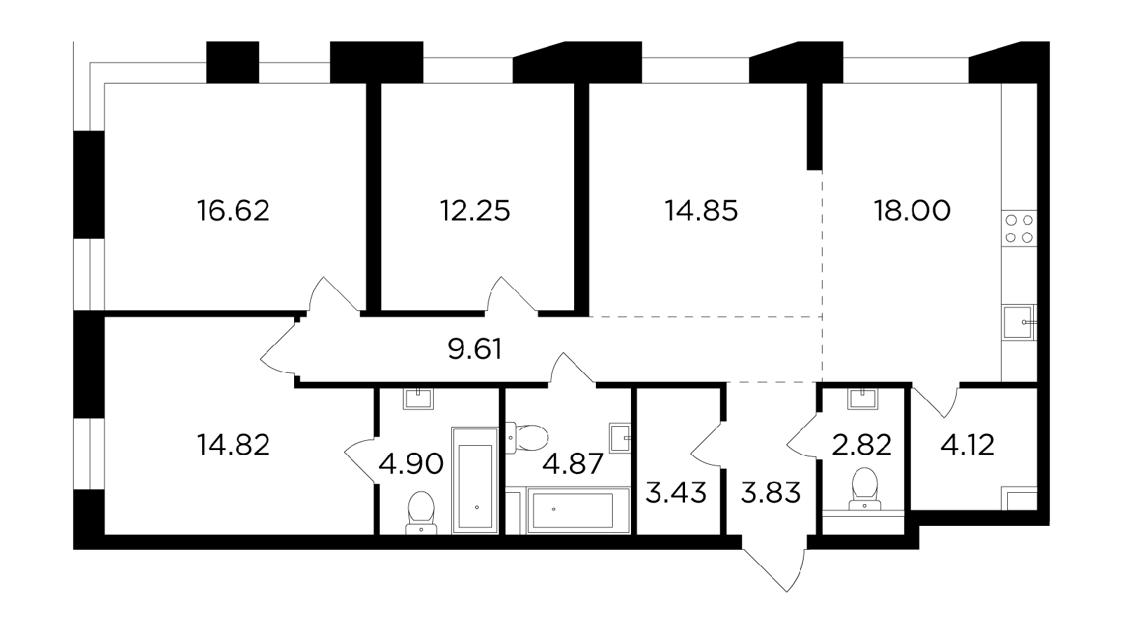 Продаётся 4-комнатная квартира в новостройке 110.1 кв.м. этаж 5/16 за 39 610 157 руб