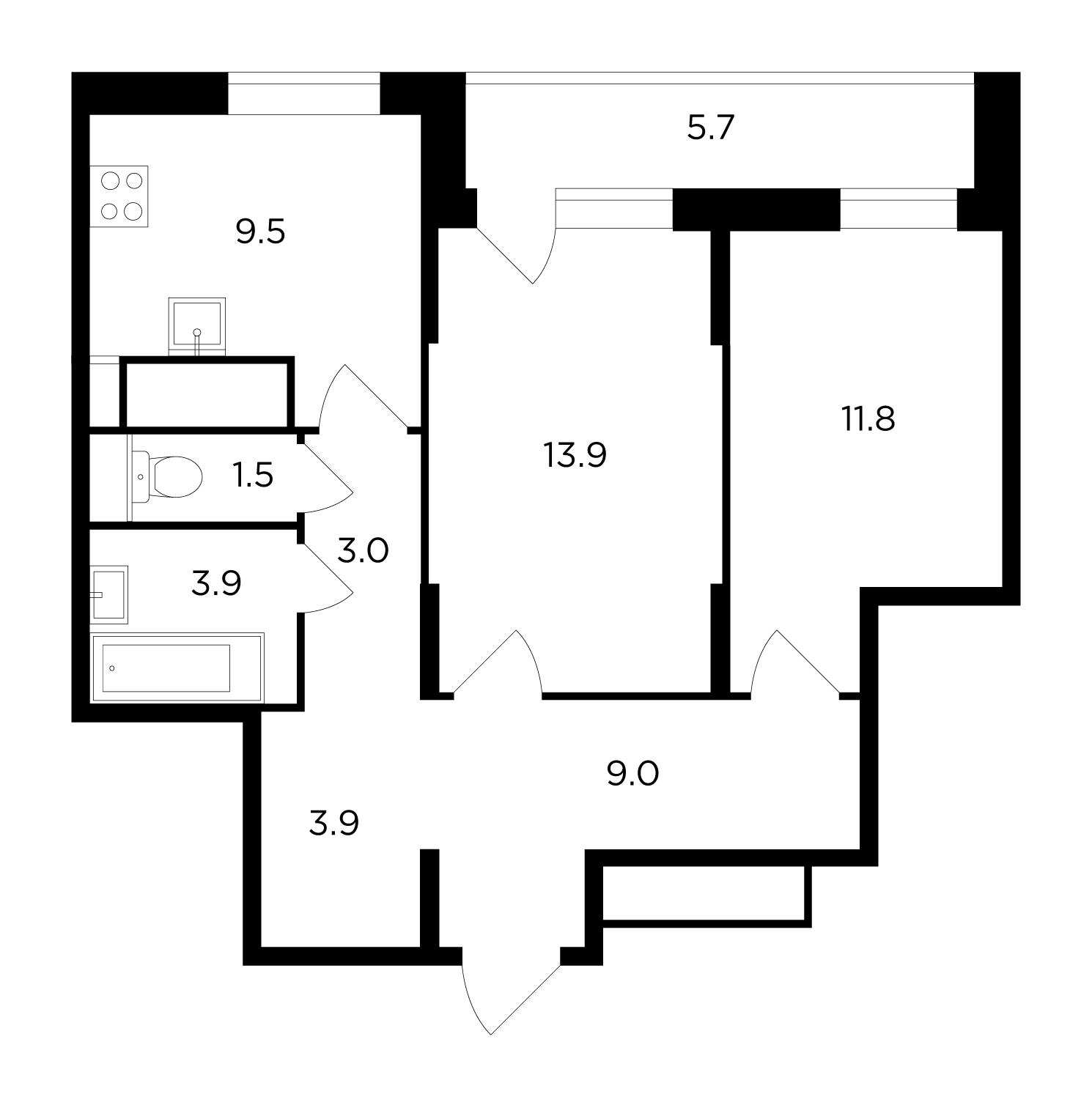 Продаётся 2-комнатная квартира в новостройке 59.2 кв.м. этаж 17/17 за 8 742 972 руб