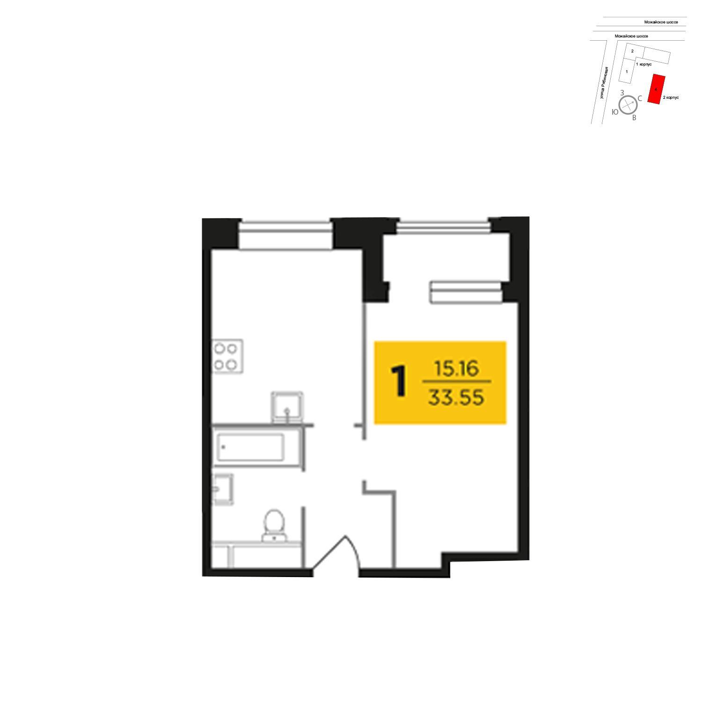 Продаётся 1-комнатная квартира в новостройке 35.4 кв.м. этаж 18/27 за 7 877 478 руб