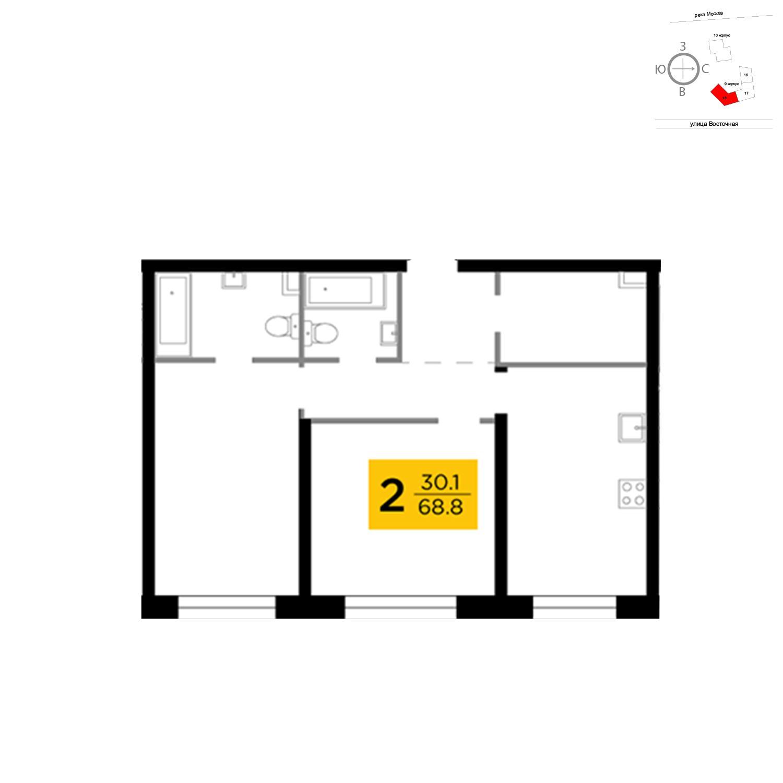 Продаётся 2-комнатная квартира в новостройке 68.8 кв.м. этаж 4/16 за 24 739 207 руб