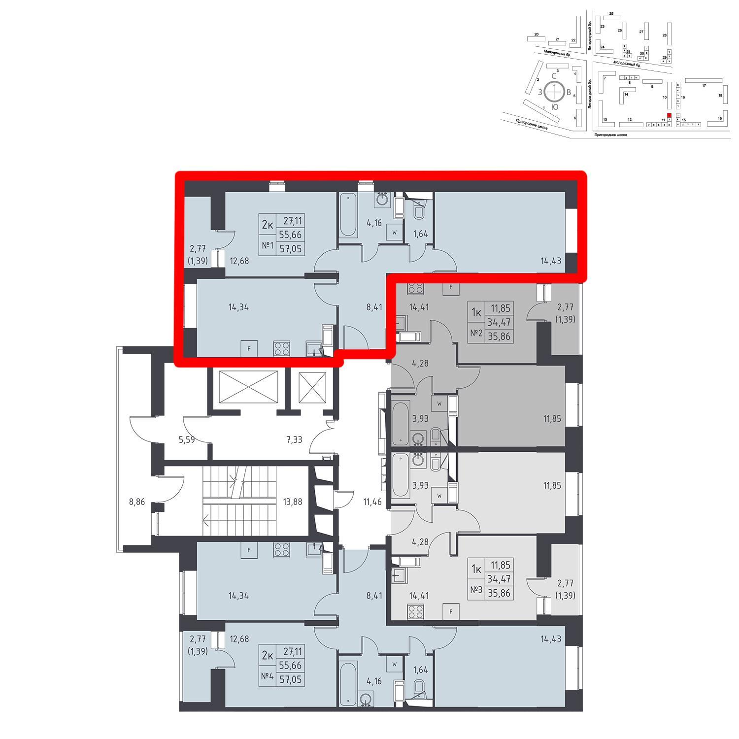 Продаётся 2-комнатная квартира в новостройке 57.1 кв.м. этаж 12/17 за 0 руб