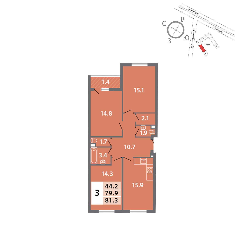 Продаётся 3-комнатная квартира в новостройке 81.3 кв.м. этаж 2/19 за 17 160 319 руб
