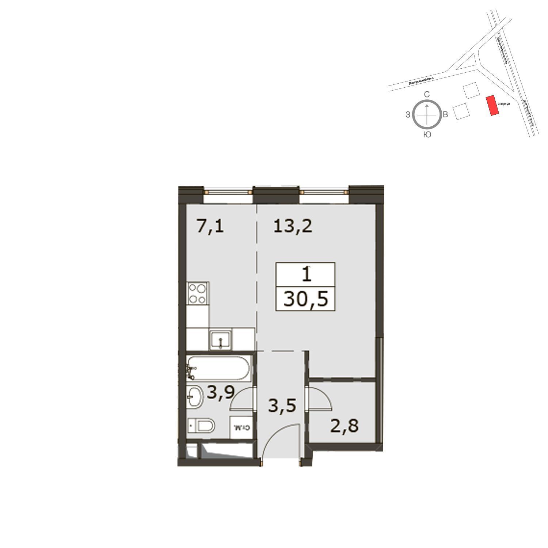 Продаётся  квартира-студия 30.5 кв.м. этаж 14/29 за 10 431 000 руб