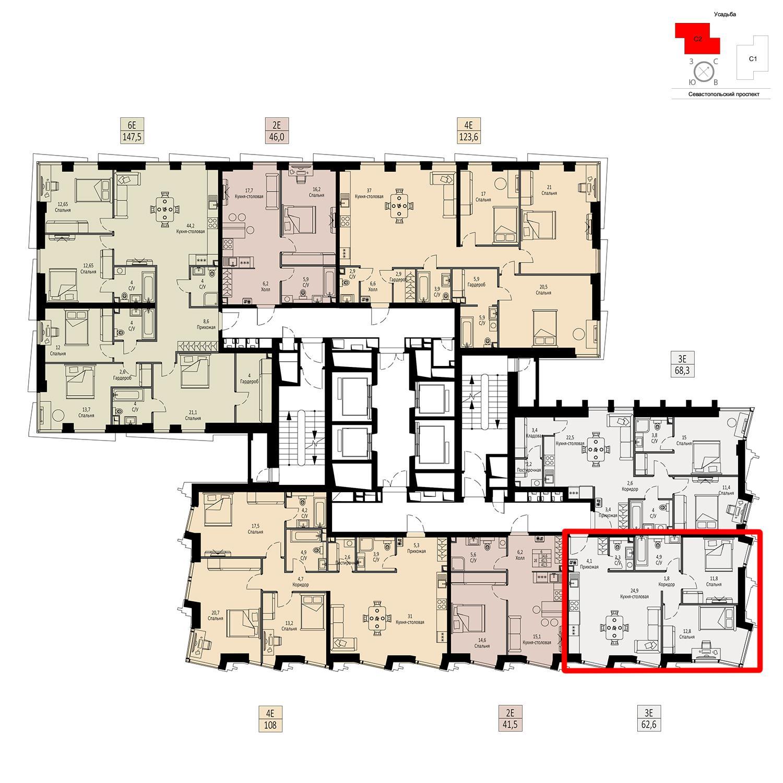 Продаётся  квартира-студия 62.6 кв.м. этаж 37/42 за 22 028 940 руб