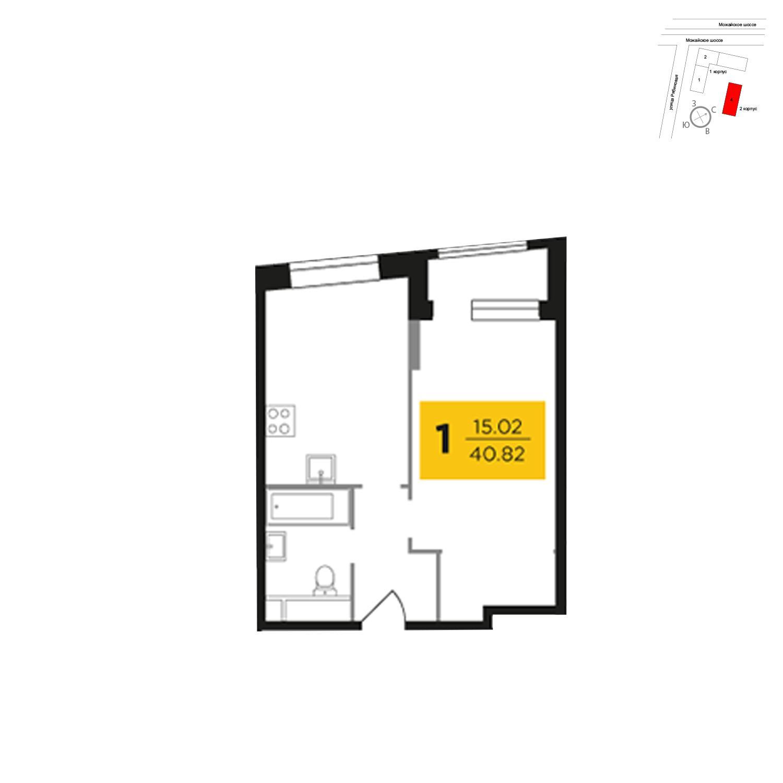 Продаётся 1-комнатная квартира в новостройке 40.9 кв.м. этаж 25/27 за 8 715 424 руб