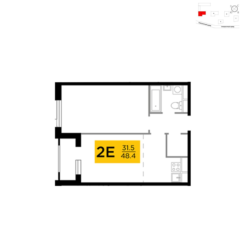 Продаётся 2-комнатная квартира в новостройке 48.4 кв.м. этаж 19/27 за 17 309 243 руб