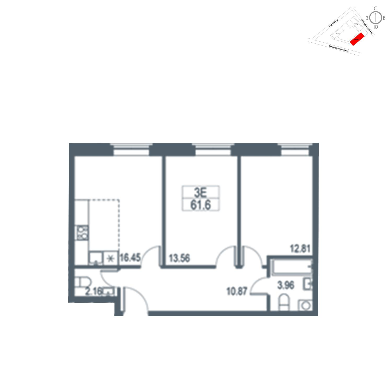 Продаётся 3-комнатная квартира в новостройке 61.6 кв.м. этаж 19/21 за 13 231 680 руб