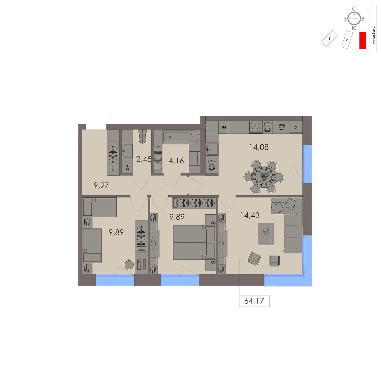 Продаётся 3-комнатная квартира в новостройке 64.2 кв.м. этаж 12/21 за 17 569 900 руб