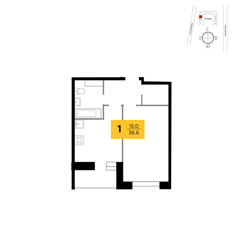 Продаётся 1-комнатная квартира в новостройке 36.6 кв.м. этаж 9/16 за 4 423 806 руб