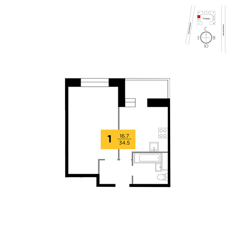 Продаётся 1-комнатная квартира в новостройке 34.5 кв.м. этаж 14/16 за 3 296 302 руб