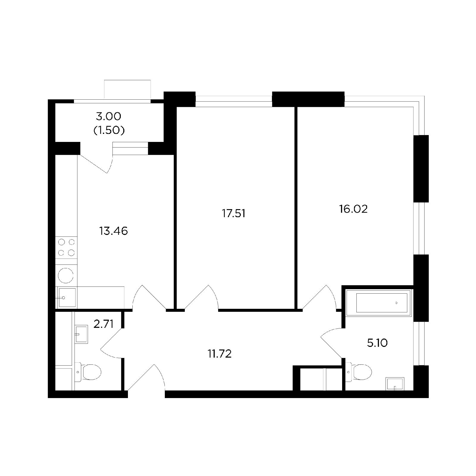Продаётся 2-комнатная квартира в новостройке 67.3 кв.м. этаж 3/27 за 20 498 322 руб