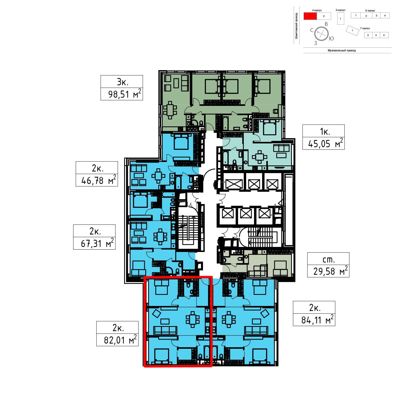 Продаётся 2-комнатная квартира в новостройке 82.0 кв.м. этаж 41/51 за 24 603 000 руб