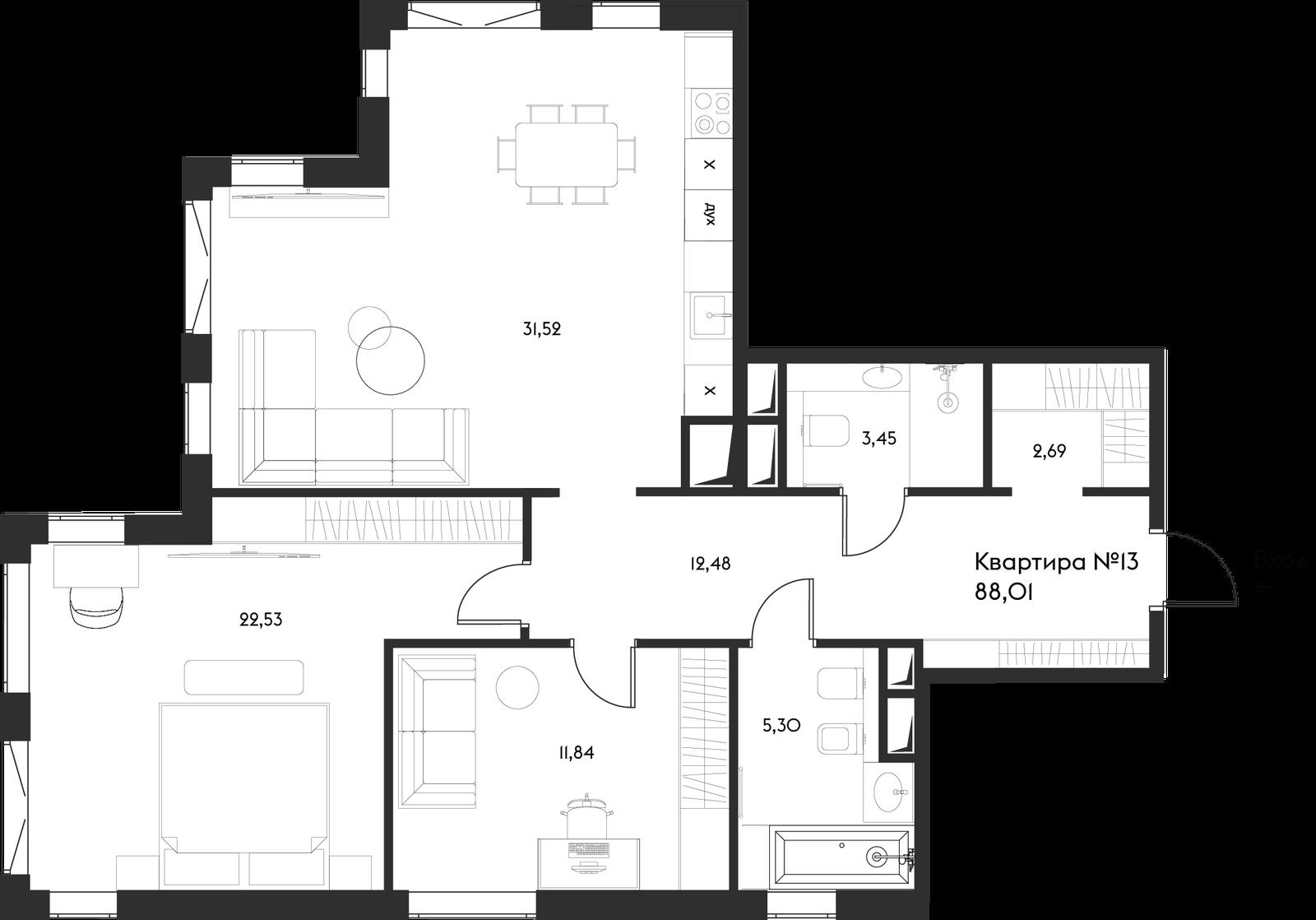 Продаётся 2-комнатная квартира в новостройке 88.0 кв.м. этаж 6/17 за 50 465 863 руб