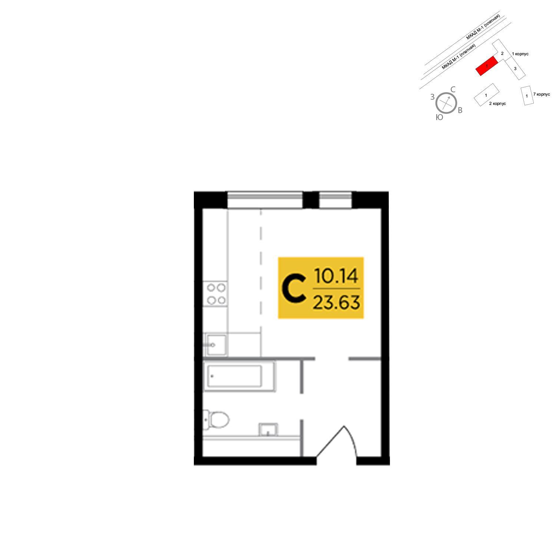 Продаётся  квартира-студия 23.6 кв.м. этаж 18/25 за 4 386 983 руб
