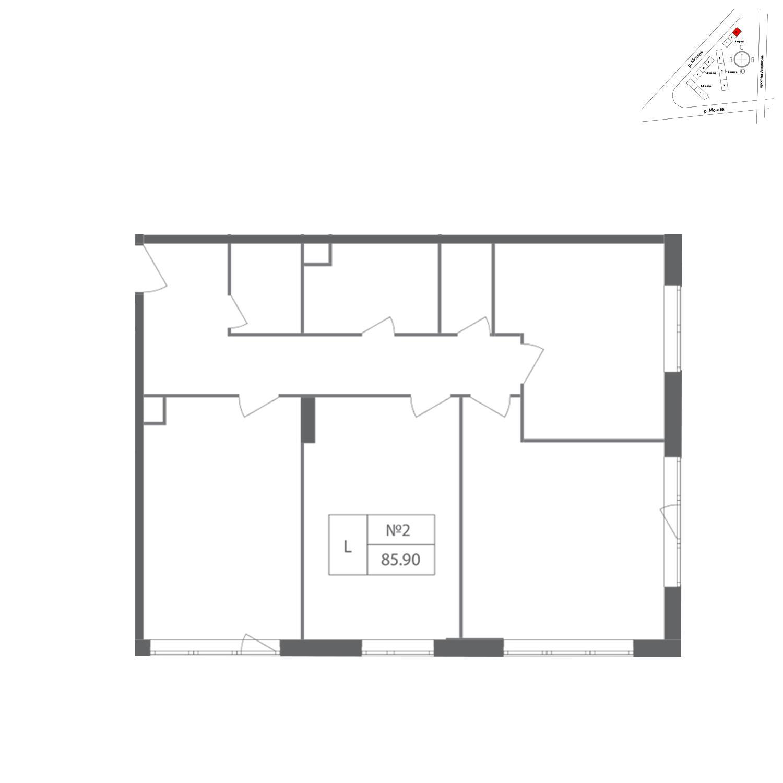 Продаётся 3-комнатная квартира в новостройке 85.9 кв.м. этаж 2/12 за 20 675 315 руб