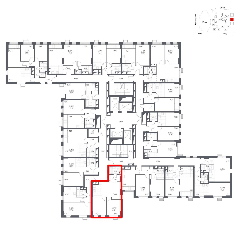Продаётся 2-комнатная квартира в новостройке 49.3 кв.м. этаж 13/31 за 6 436 063 руб