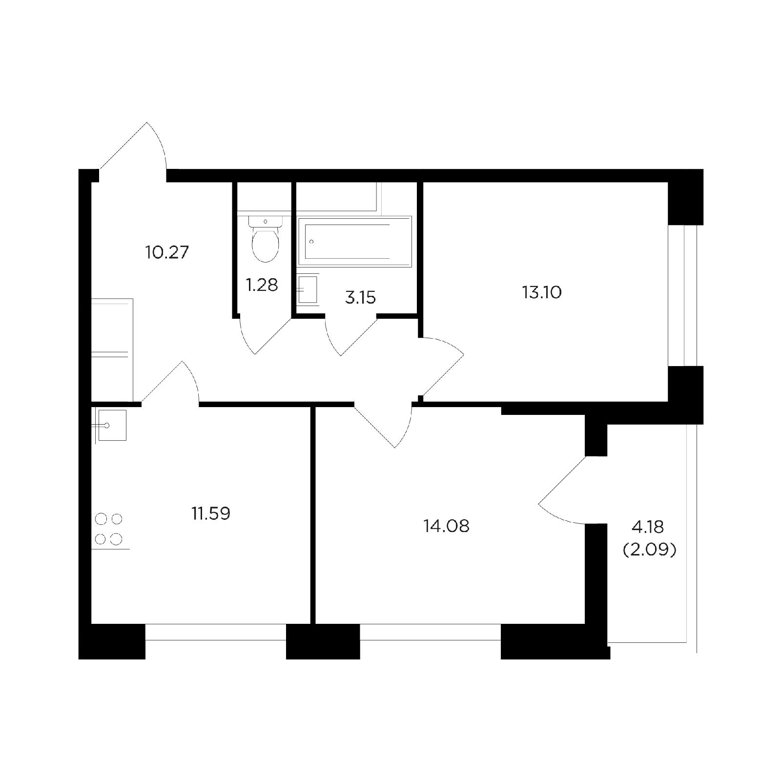 Продаётся 2-комнатная квартира в новостройке 55.4 кв.м. этаж 6/24 за 9 899 980 руб