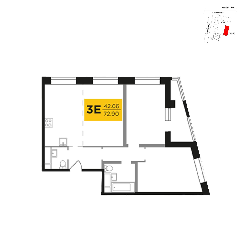 Продаётся 3-комнатная квартира в новостройке 72.9 кв.м. этаж 15/27 за 15 856 694 руб