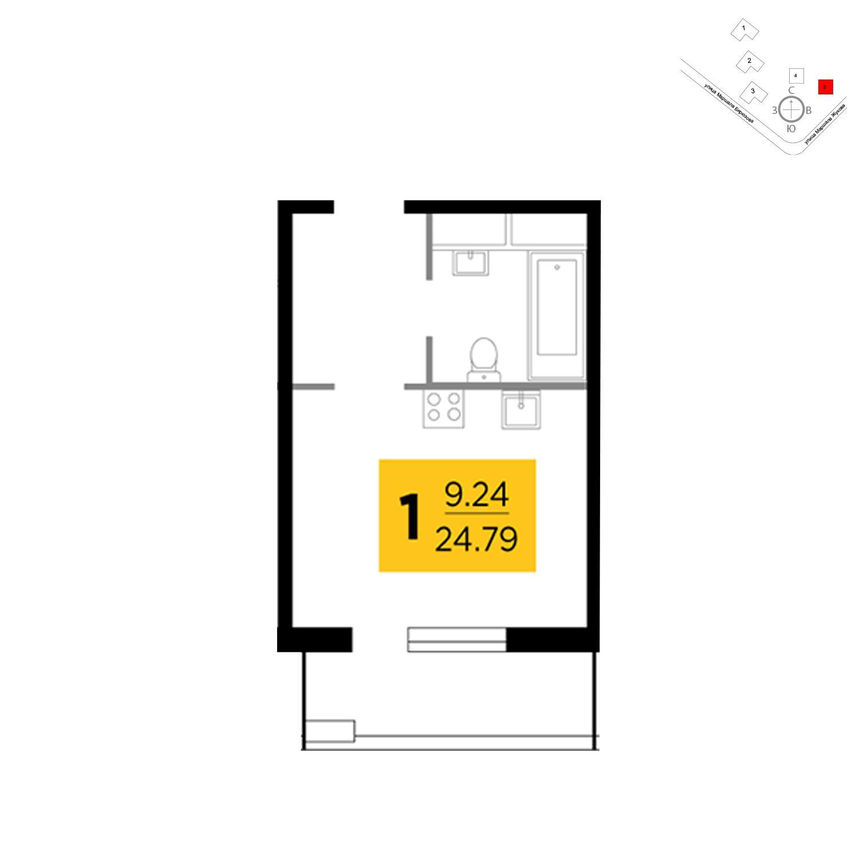Продаётся  квартира-студия 24.8 кв.м. этаж 7/25 за 5 375 414 руб