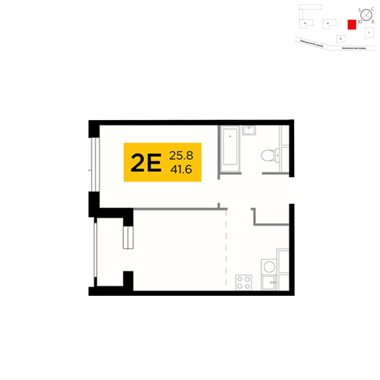 Продаётся 2-комнатная квартира в новостройке 41.1 кв.м. этаж 5/26 за 16 384 476 руб