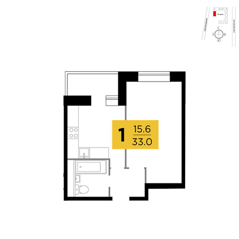 Продаётся 1-комнатная квартира в новостройке 33.0 кв.м. этаж 9/16 за 2 619 177 руб