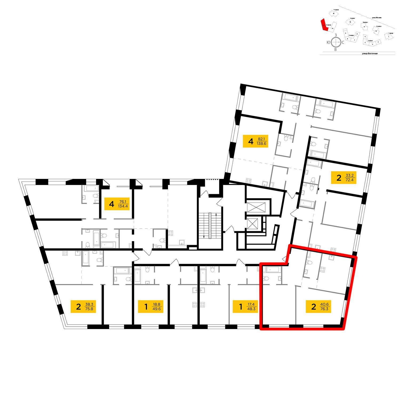 Продаётся 2-комнатная квартира в новостройке 76.3 кв.м. этаж 7/16 за 26 066 597 руб