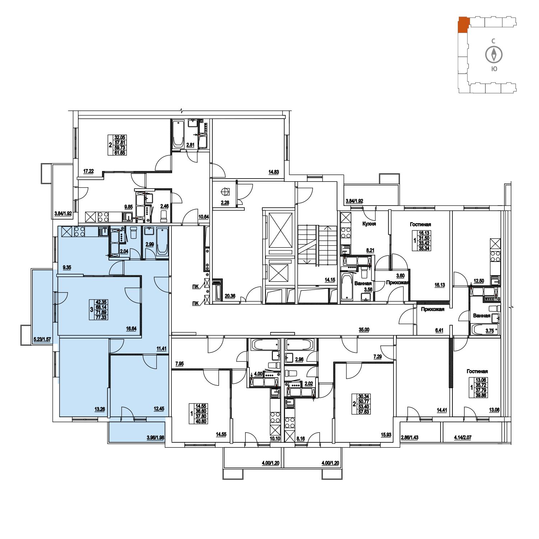 Продаётся 3-комнатная квартира в новостройке 71.7 кв.м. этаж 13/14 за 0 руб