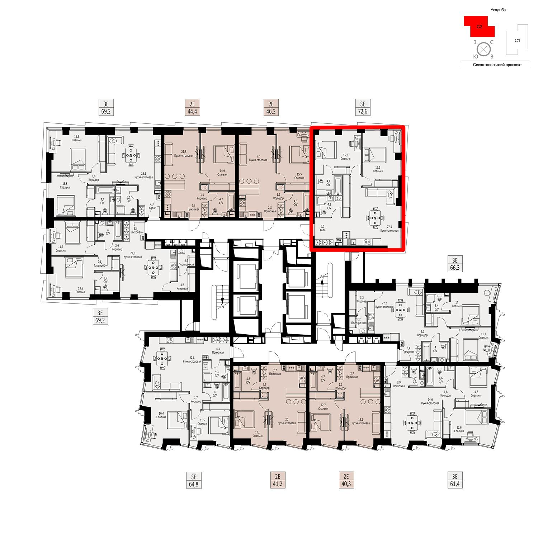 Продаётся  квартира-студия 72.6 кв.м. этаж 3/42 за 22 404 360 руб