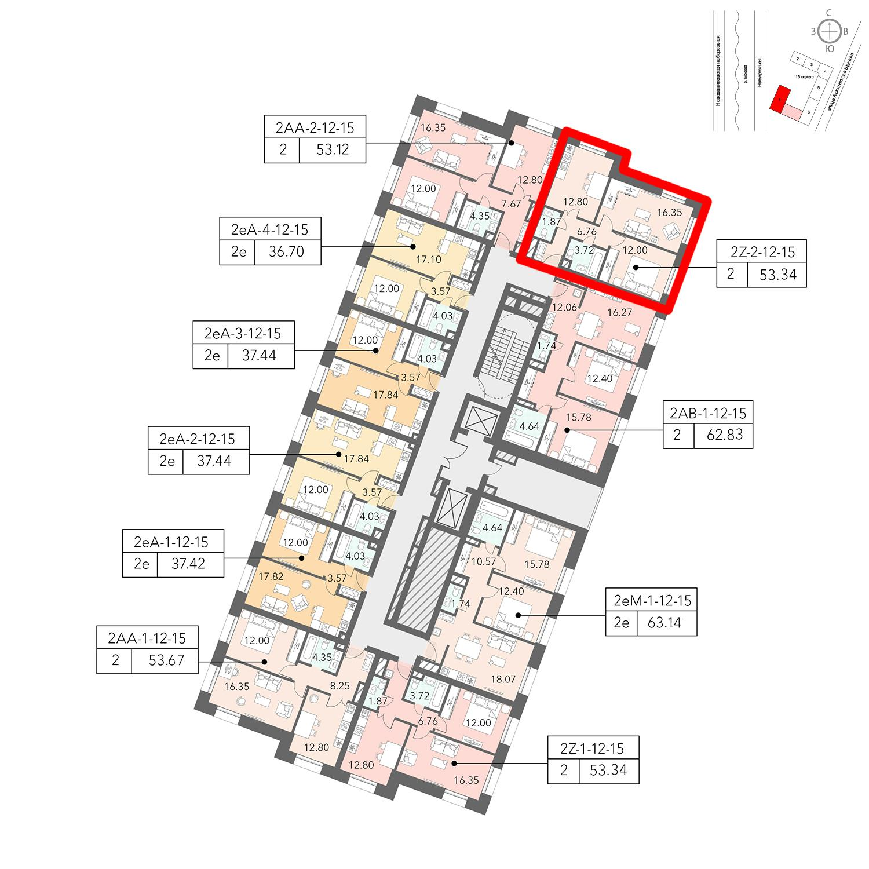 Продаётся 2-комнатная квартира в новостройке 53.6 кв.м. этаж 15/16 за 15 876 320 руб