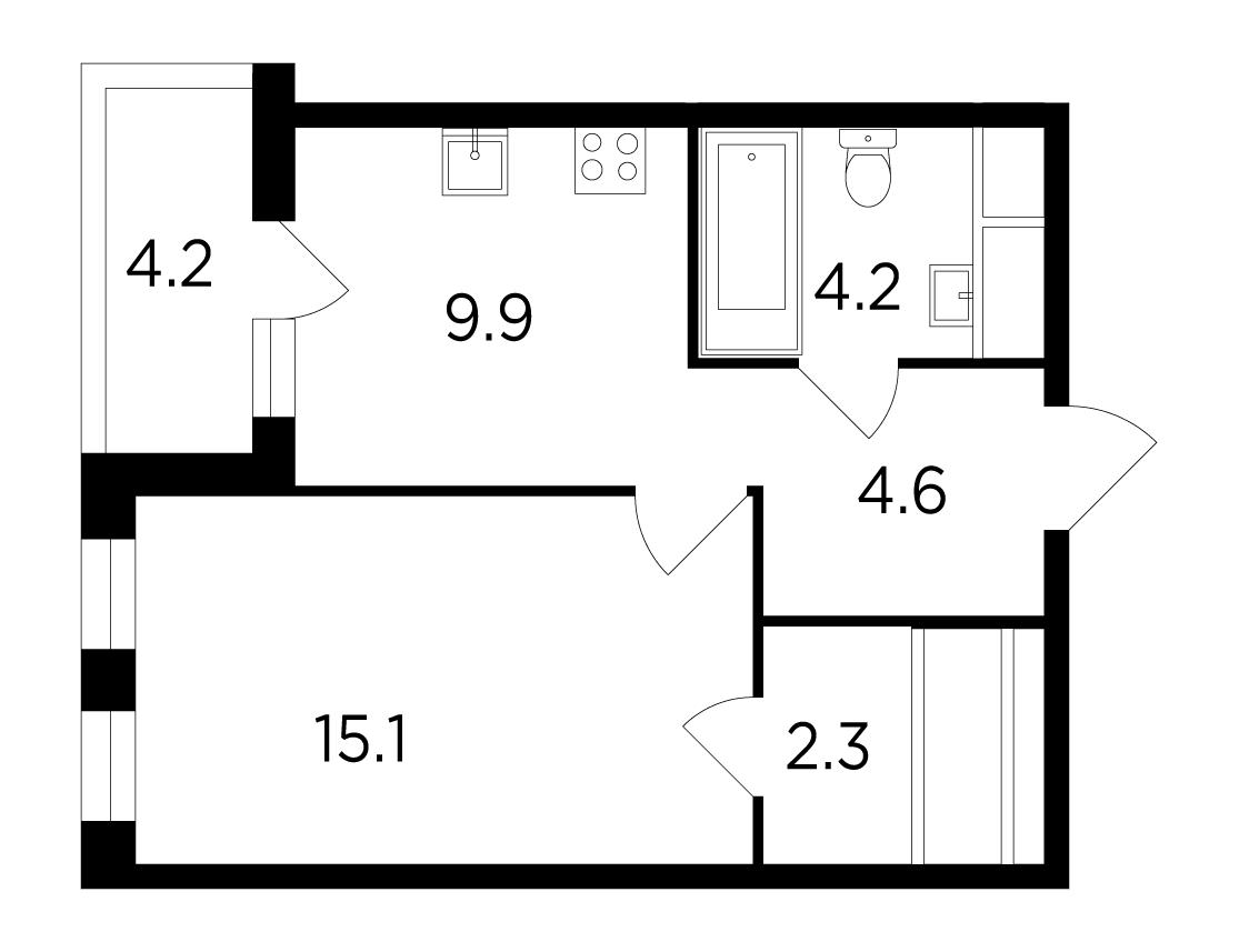 Продаётся 1-комнатная квартира в новостройке 38.3 кв.м. этаж 14/15 за 7 992 146 руб