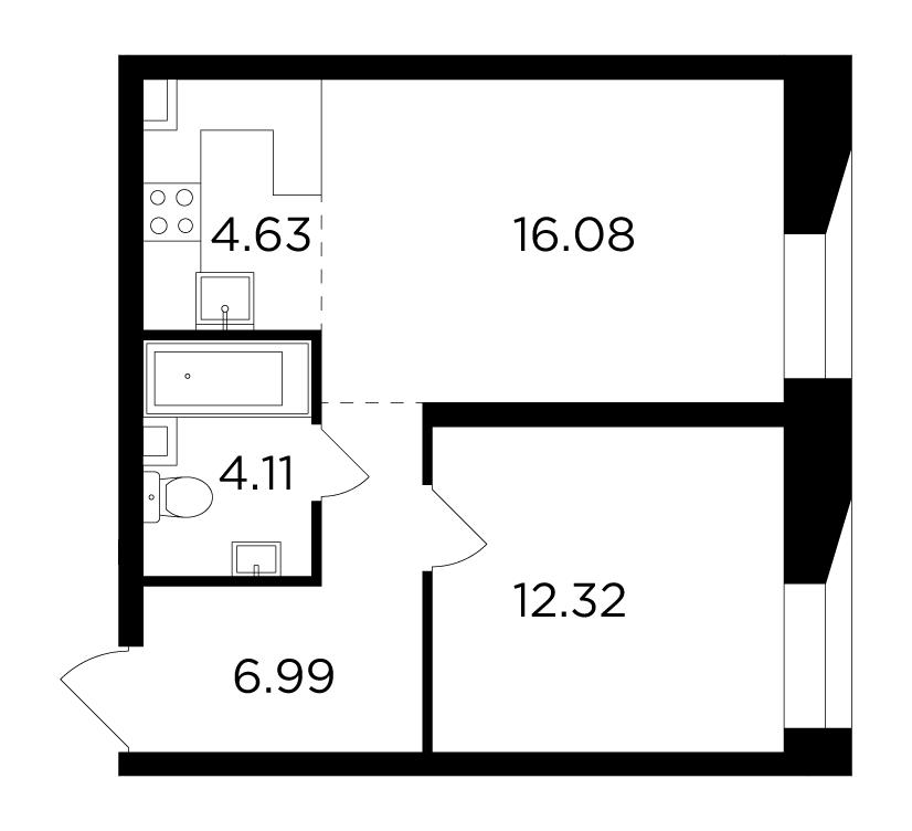 Продаётся 2-комнатная квартира в новостройке 44.1 кв.м. этаж 8/16 за 20 537 175 руб