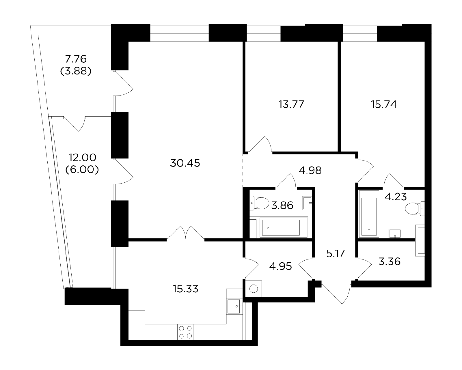 Продаётся 3-комнатная квартира в новостройке 111.7 кв.м. этаж 5/19 за 44 839 667 руб