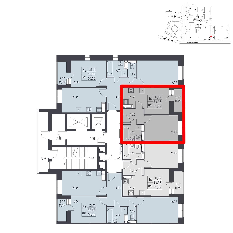Продаётся 1-комнатная квартира в новостройке 35.9 кв.м. этаж 17/17 за 3 661 270 руб
