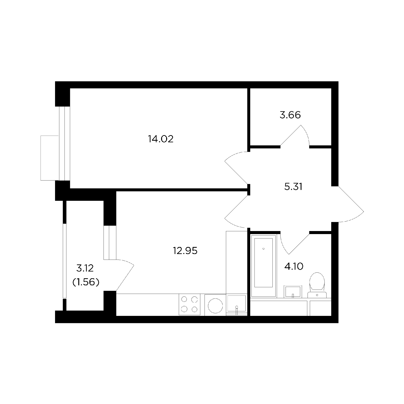 Продаётся 1-комнатная квартира в новостройке 41.6 кв.м. этаж 15/27 за 14 474 595 руб