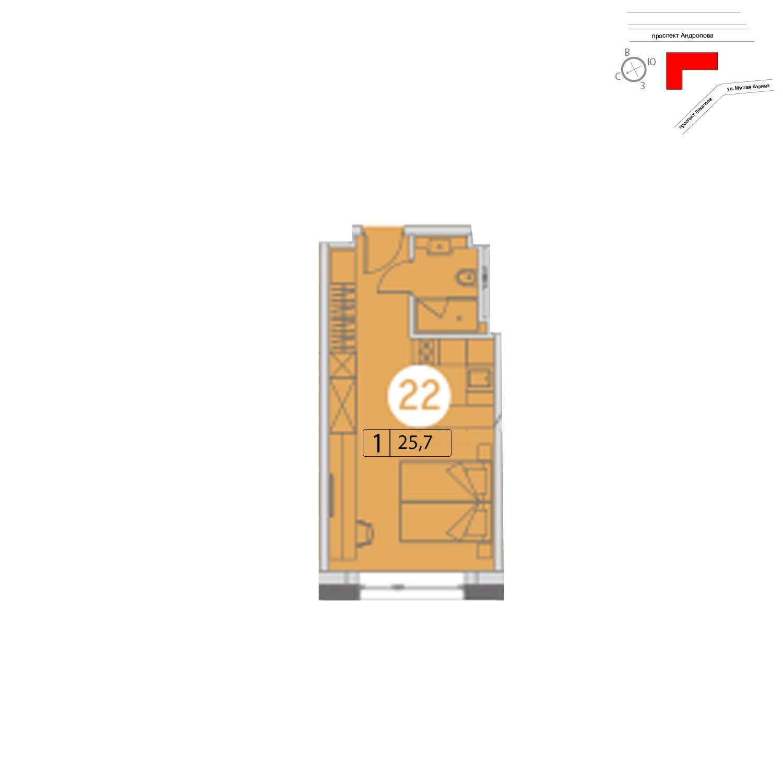 Продаётся  квартира-студия 25.7 кв.м. этаж 20/25 за 8 254 440 руб