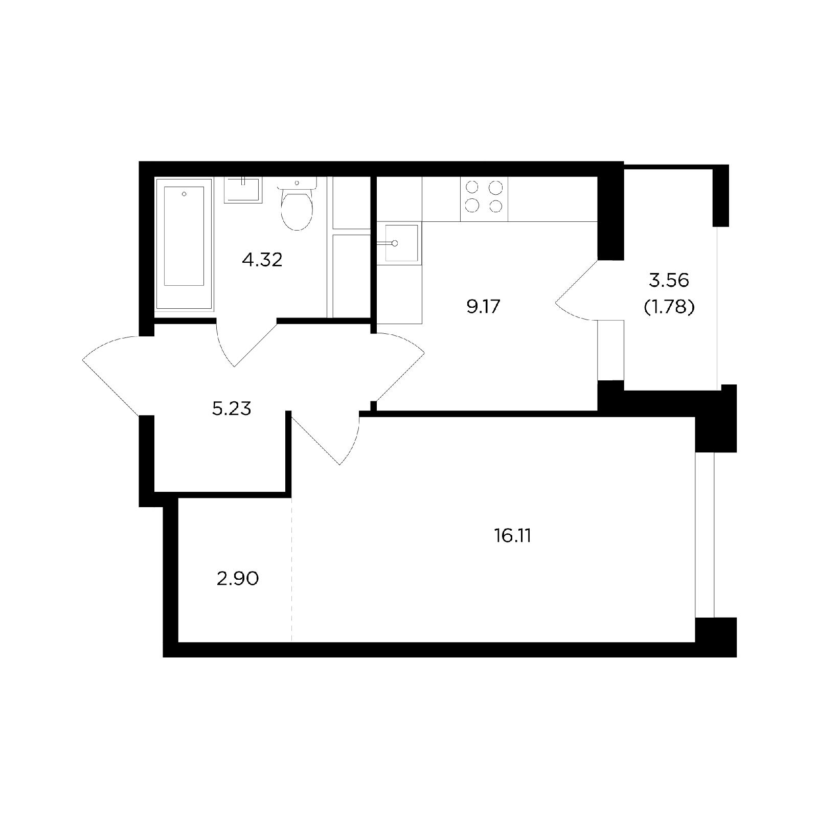 Продаётся 1-комнатная квартира в новостройке 39.5 кв.м. этаж 9/24 за 5 868 025 руб
