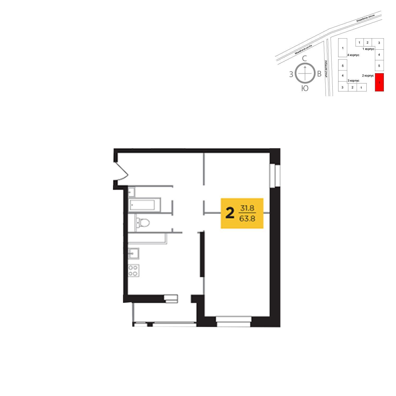 Продаётся 2-комнатная квартира в новостройке 63.8 кв.м. этаж 2/23 за 12 809 027 руб