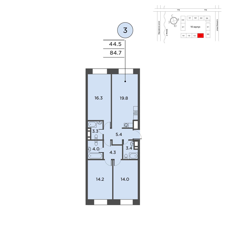 Продаётся 3-комнатная квартира в новостройке 84.7 кв.м. этаж 3/16 за 25 414 389 руб