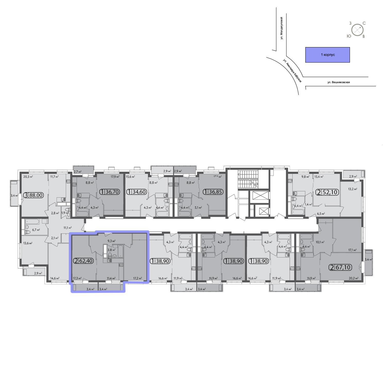 Продаётся 2-комнатная квартира в новостройке 62.1 кв.м. этаж 3/13 за 12 656 300 руб