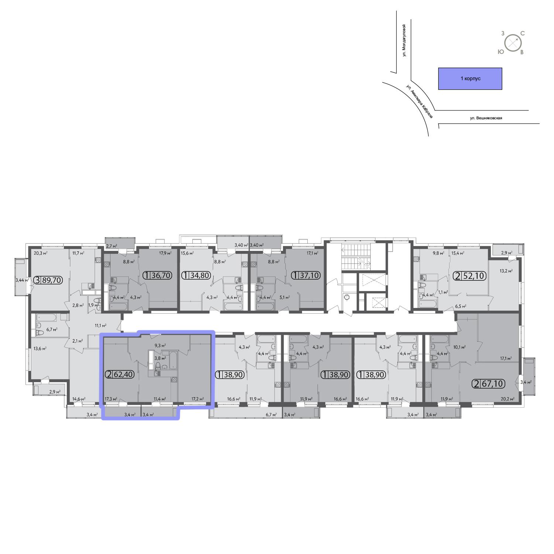 Продаётся 2-комнатная квартира в новостройке 62.1 кв.м. этаж 11/13 за 12 718 400 руб
