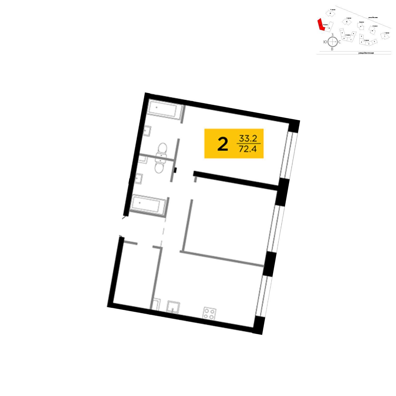 Продаётся 2-комнатная квартира в новостройке 72.4 кв.м. этаж 4/16 за 26 755 952 руб