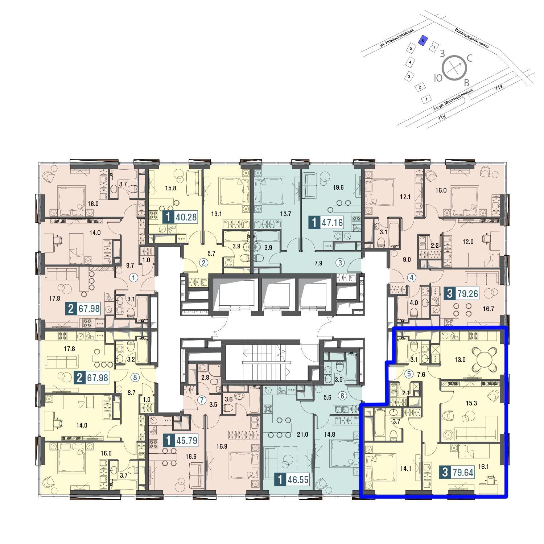 Продаётся 3-комнатная квартира в новостройке 80.1 кв.м. этаж 25/30 за 23 789 700 руб