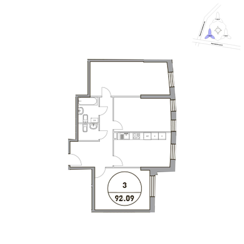 Продаётся 3-комнатная квартира в новостройке 92.1 кв.м. этаж 31/31 за 30 020 041 руб