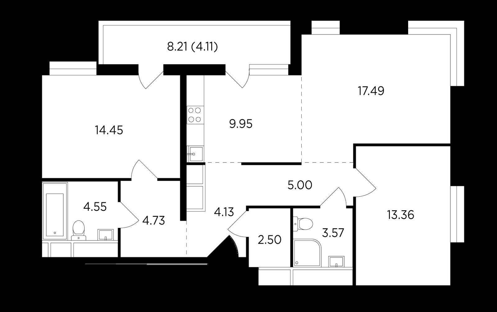 Продаётся 3-комнатная квартира в новостройке 83.8 кв.м. этаж 24/25 за 13 095 808 руб